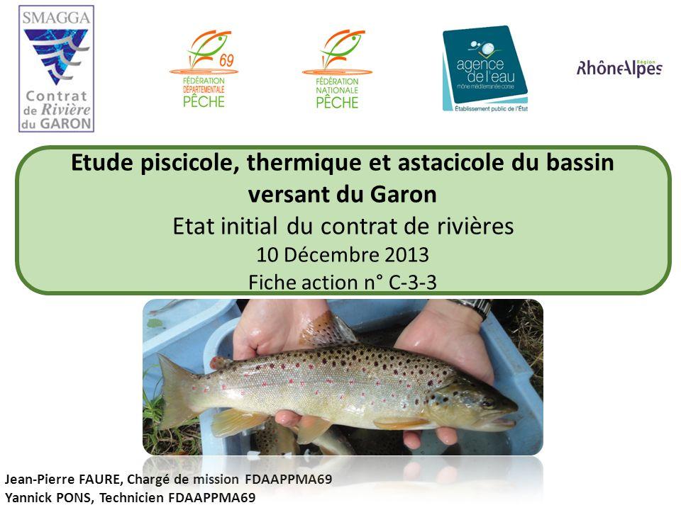 Etude piscicole, thermique et astacicole du bassin versant du Garon