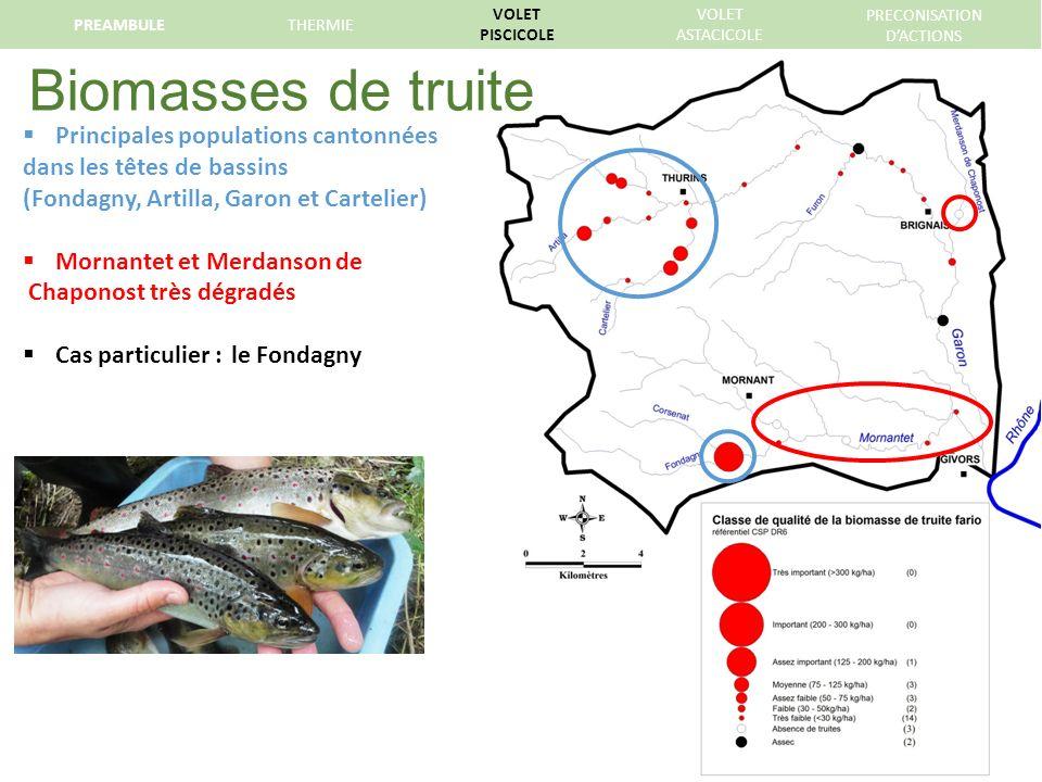 Biomasses de truite Principales populations cantonnées