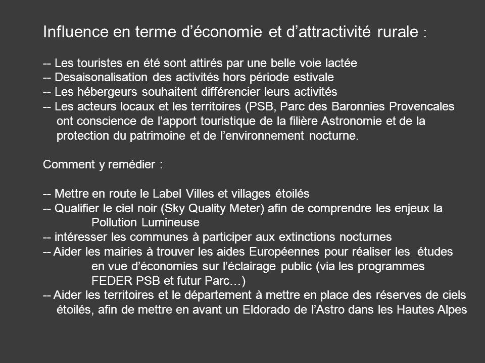 Influence en terme d'économie et d'attractivité rurale :