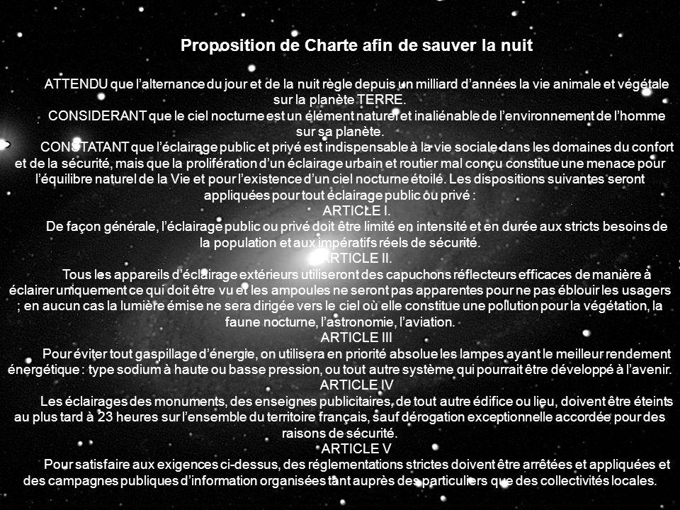 Proposition de Charte afin de sauver la nuit
