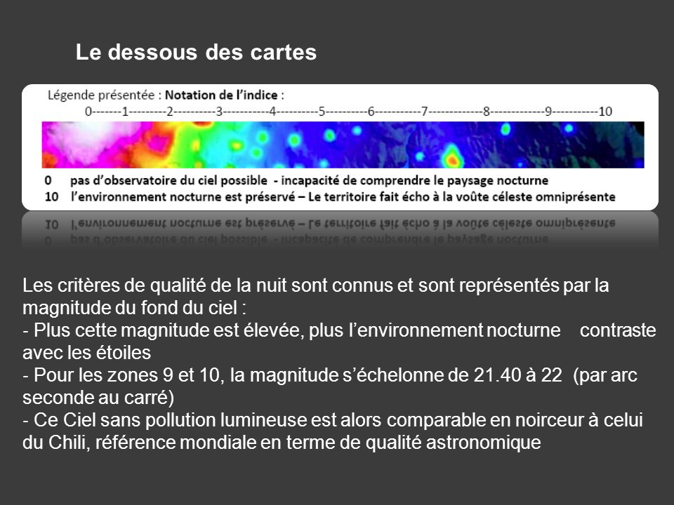 Le dessous des cartes Les critères de qualité de la nuit sont connus et sont représentés par la magnitude du fond du ciel :