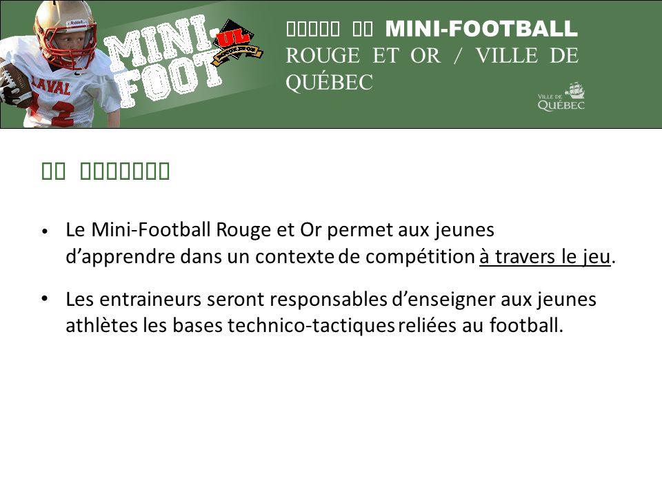 LA MISSION Le Mini-Football Rouge et Or permet aux jeunes d'apprendre dans un contexte de compétition à travers le jeu.