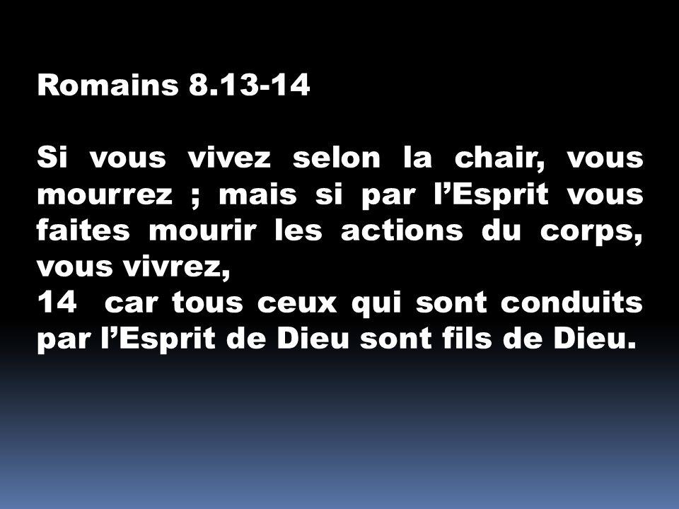 Romains 8.13-14 Si vous vivez selon la chair, vous mourrez ; mais si par l'Esprit vous faites mourir les actions du corps, vous vivrez,