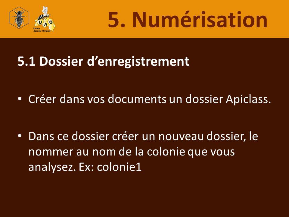 5. Numérisation 5.1 Dossier d'enregistrement