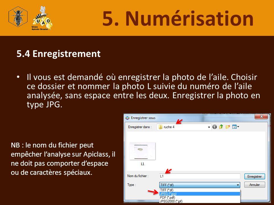 5. Numérisation 5.4 Enregistrement