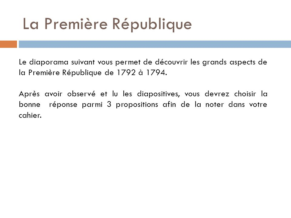 La Première République