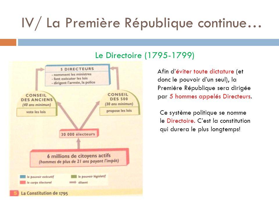 IV/ La Première République continue…