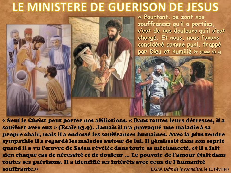 LE MINISTERE DE GUERISON DE JESUS