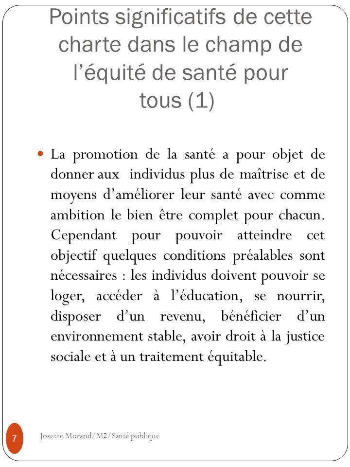 Points significatifs de cette charte dans le champ de l'équité de santé pour tous (1)