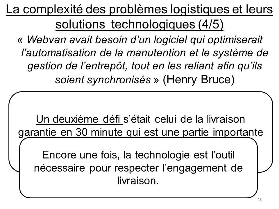 La complexité des problèmes logistiques et leurs solutions technologiques (4/5)