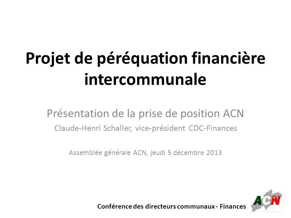 Projet de péréquation financière intercommunale