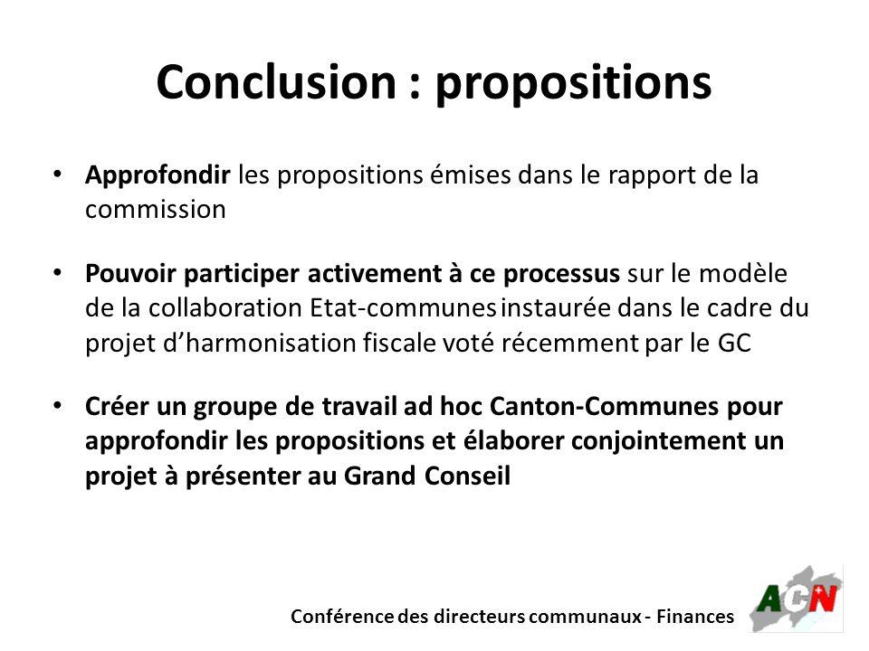 Conclusion : propositions