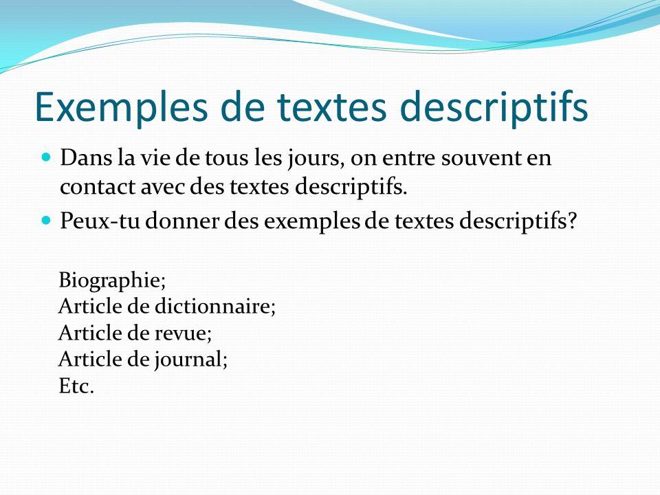 Exemples de textes descriptifs