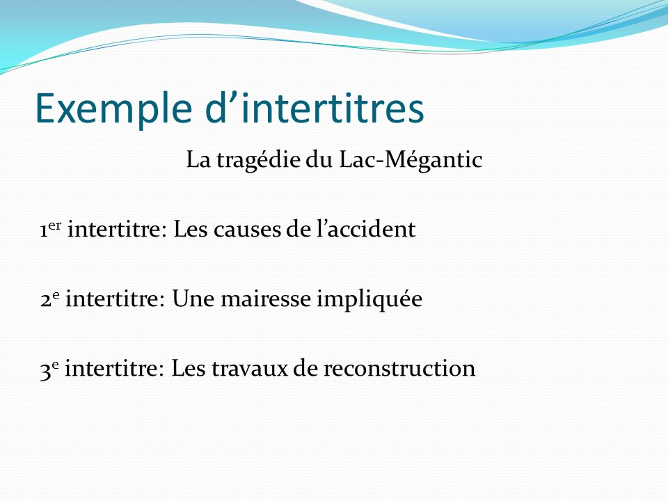 Exemple d'intertitres