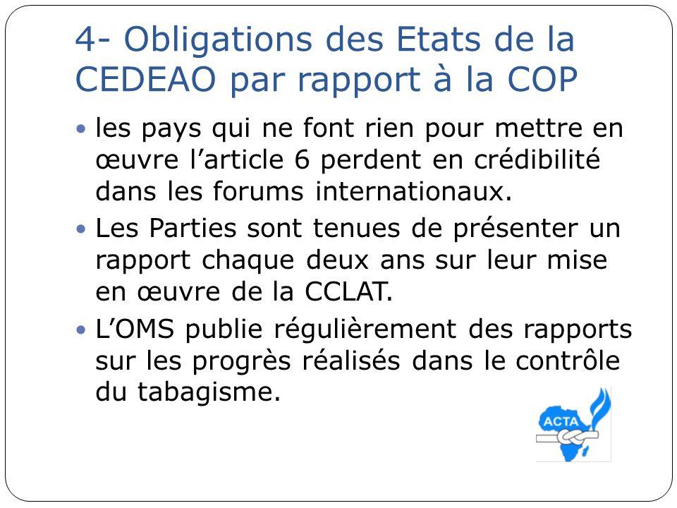 4- Obligations des Etats de la CEDEAO par rapport à la COP