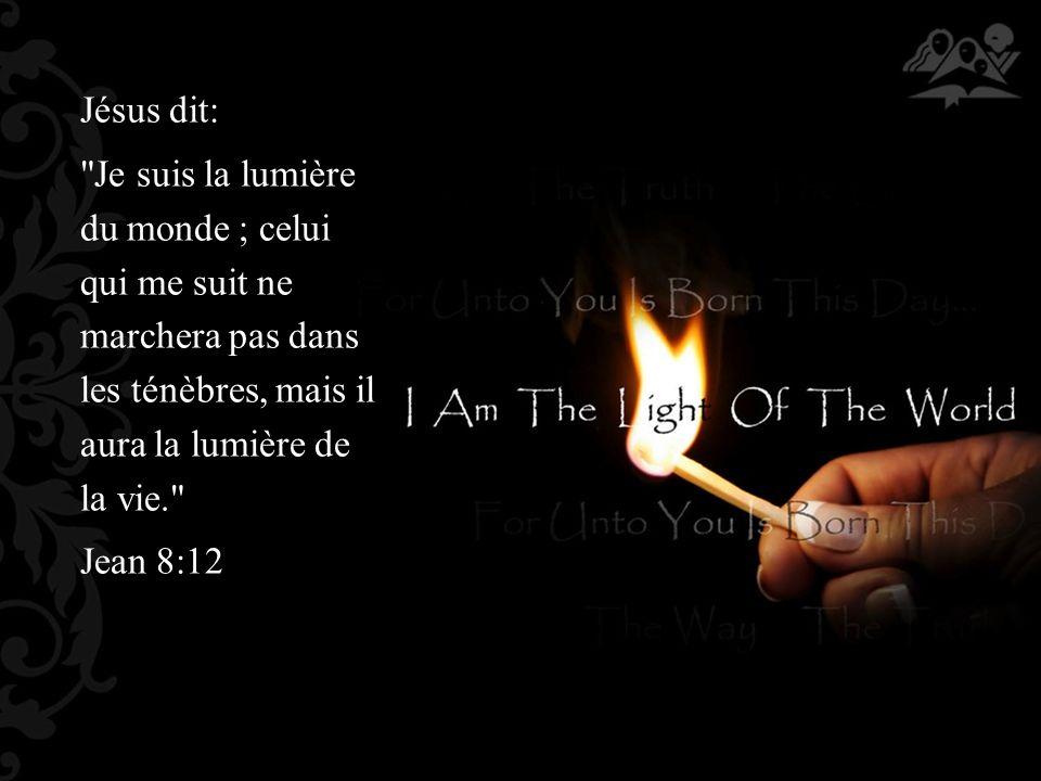Jésus dit: Je suis la lumière du monde ; celui qui me suit ne marchera pas dans les ténèbres, mais il aura la lumière de la vie. Jean 8:12