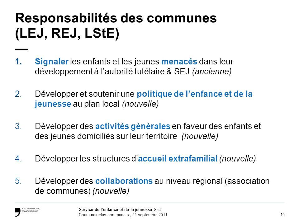 Responsabilités des communes (LEJ, REJ, LStE) —