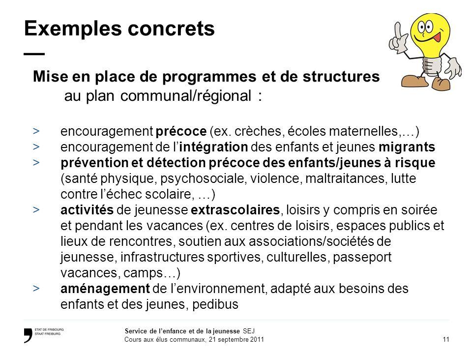 Exemples concrets — Mise en place de programmes et de structures au plan communal/régional :