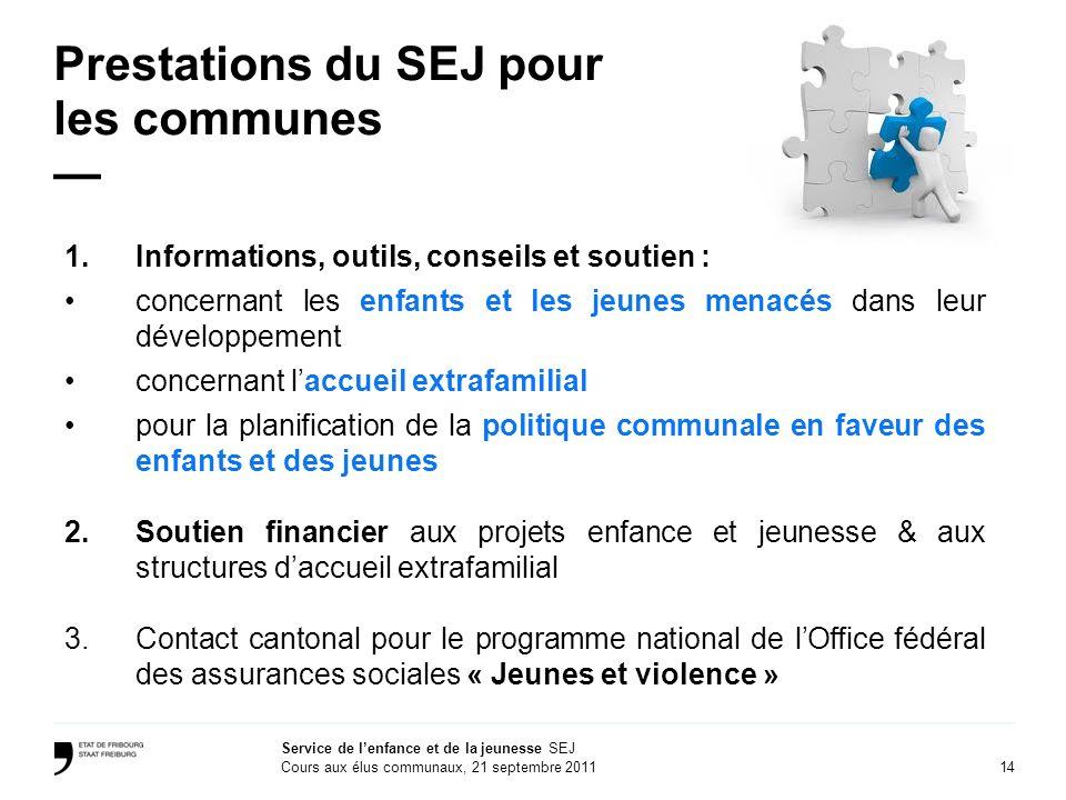 Prestations du SEJ pour les communes —