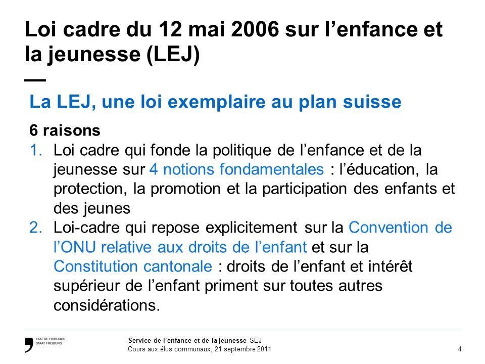 Loi cadre du 12 mai 2006 sur l'enfance et la jeunesse (LEJ) —