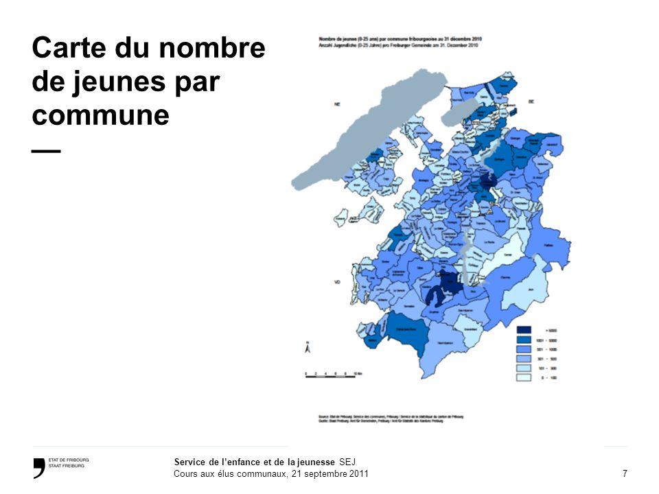 Carte du nombre de jeunes par commune —