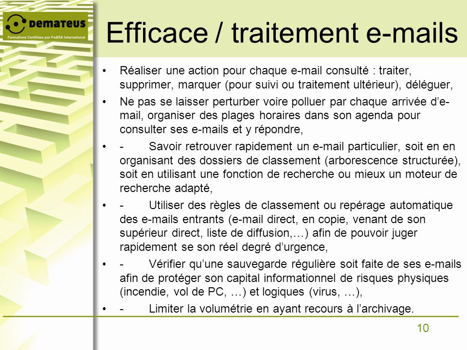 Efficace / traitement e-mails