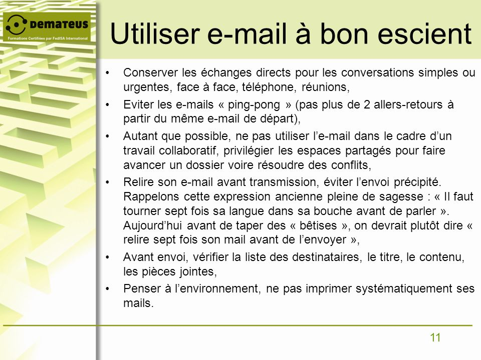 Utiliser e-mail à bon escient