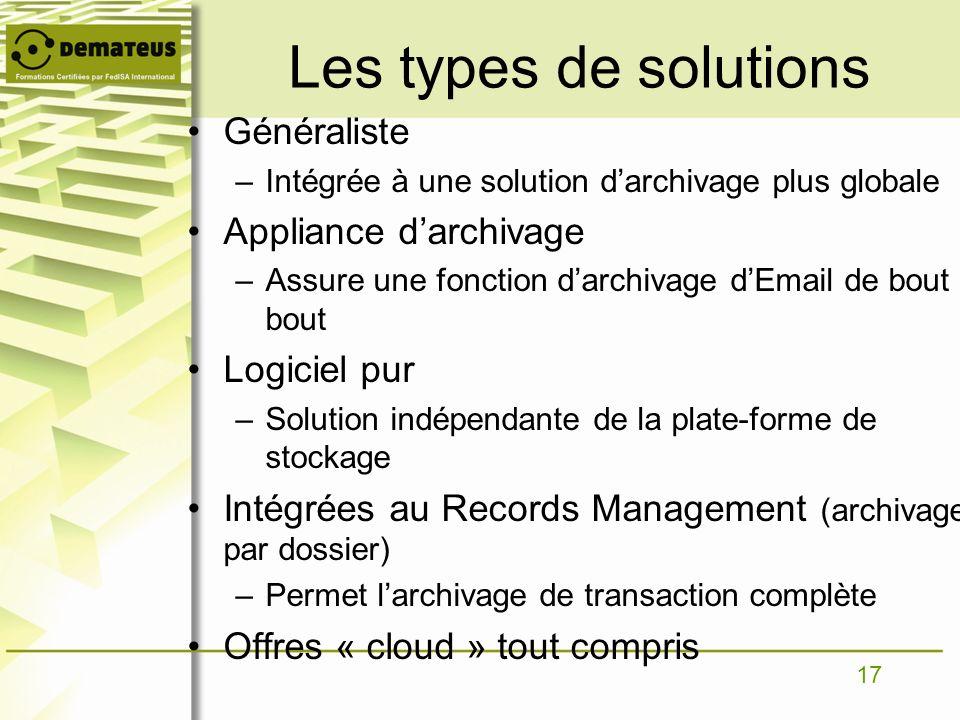Les types de solutions Généraliste Appliance d'archivage Logiciel pur