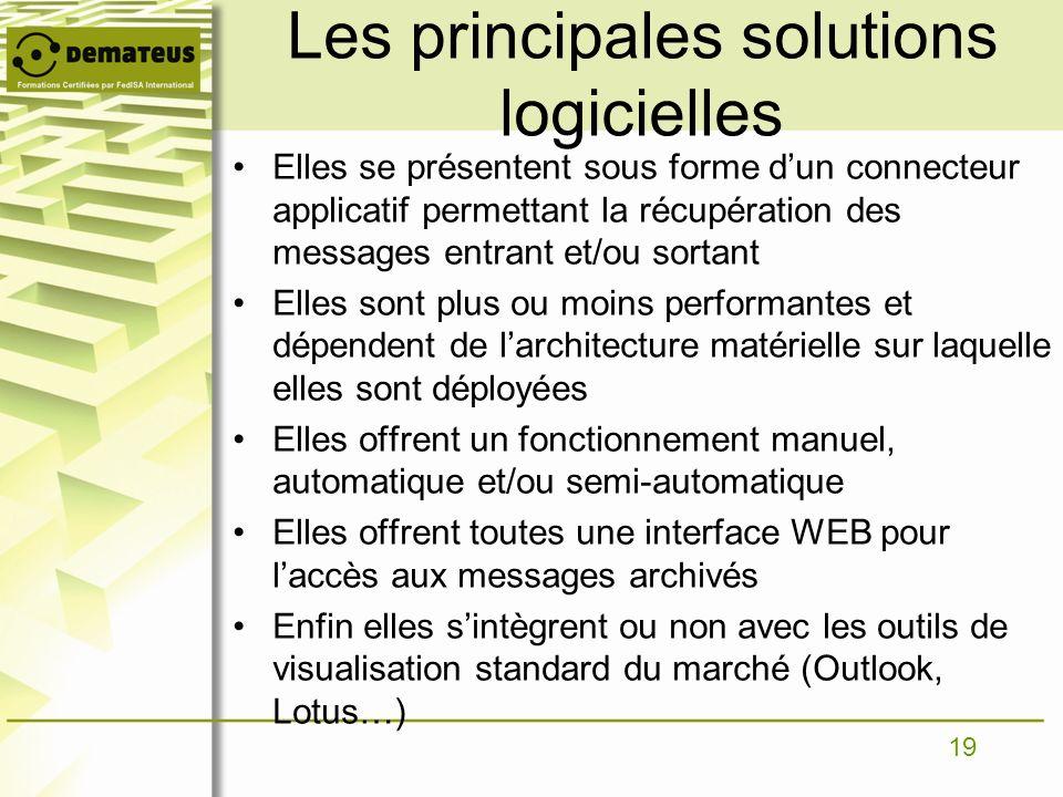 Les principales solutions logicielles