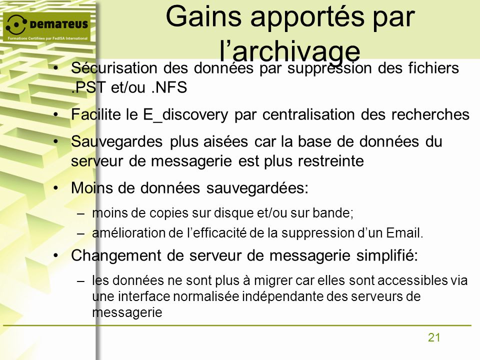 Gains apportés par l'archivage