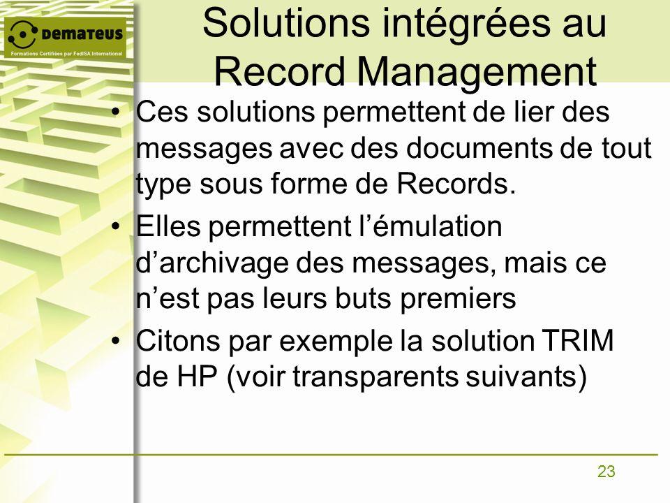 Solutions intégrées au Record Management