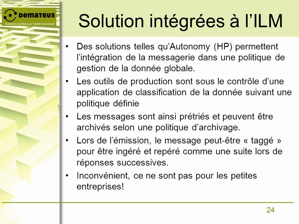 Solution intégrées à l'ILM
