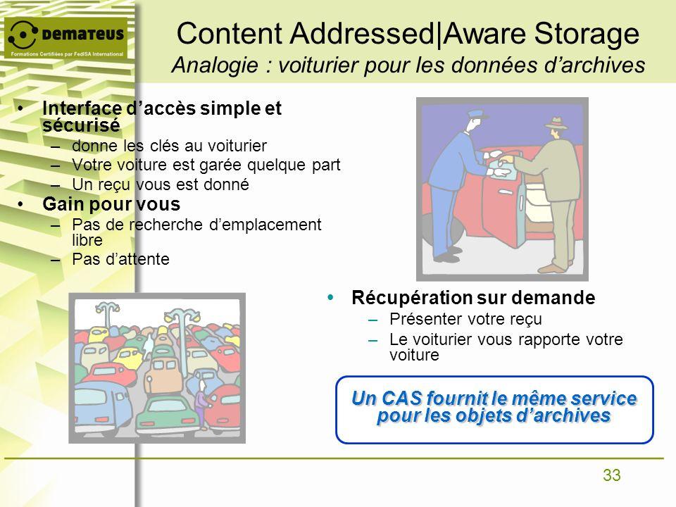Un CAS fournit le même service pour les objets d'archives
