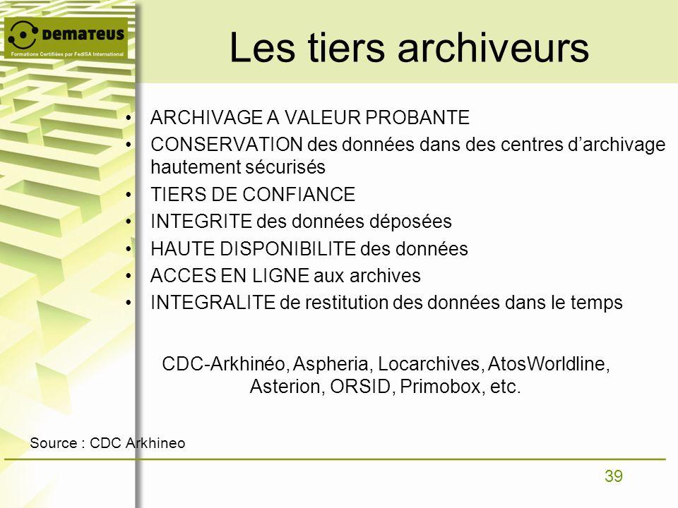 Les tiers archiveurs ARCHIVAGE A VALEUR PROBANTE