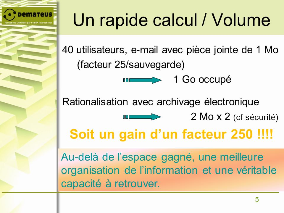 Un rapide calcul / Volume