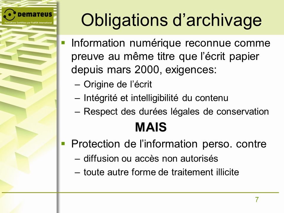 Obligations d'archivage