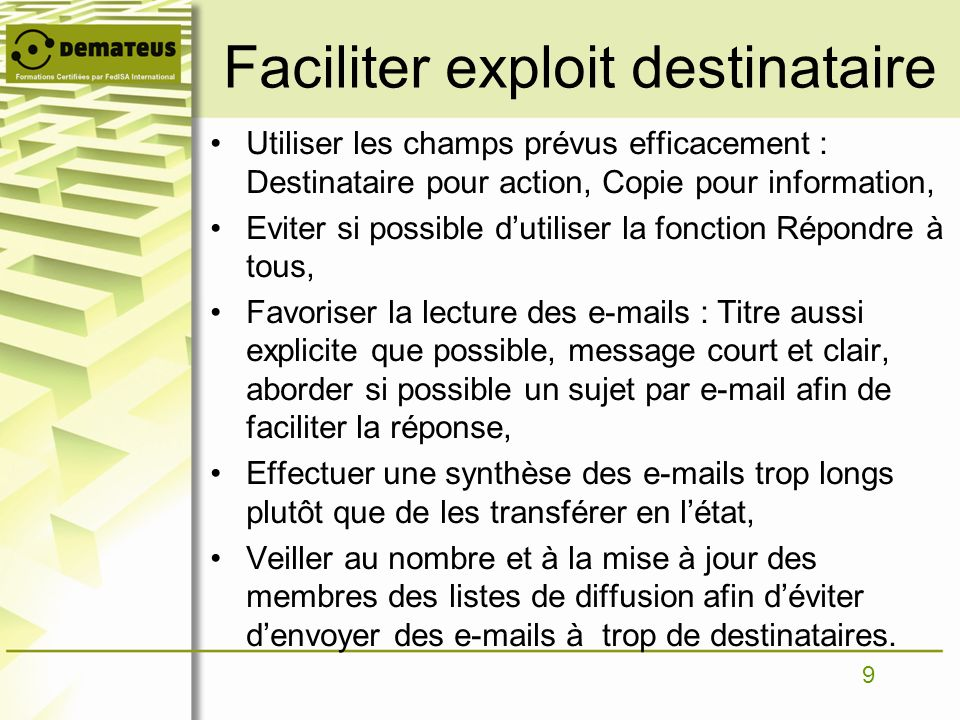 Faciliter exploit destinataire