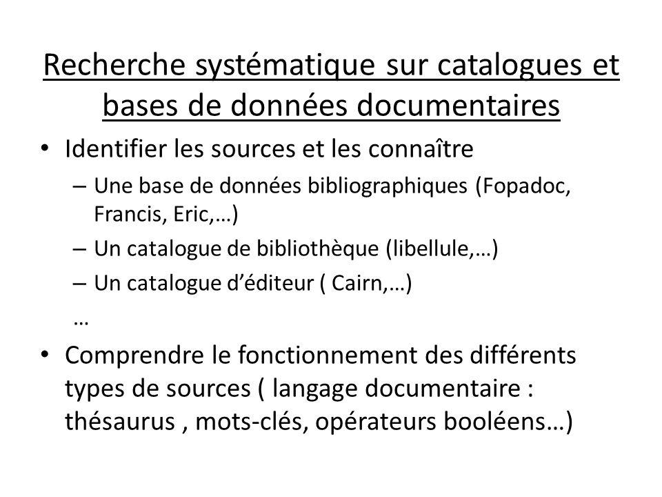 Recherche systématique sur catalogues et bases de données documentaires