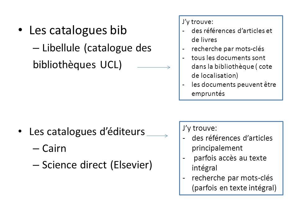 Les catalogues bib Libellule (catalogue des bibliothèques UCL)