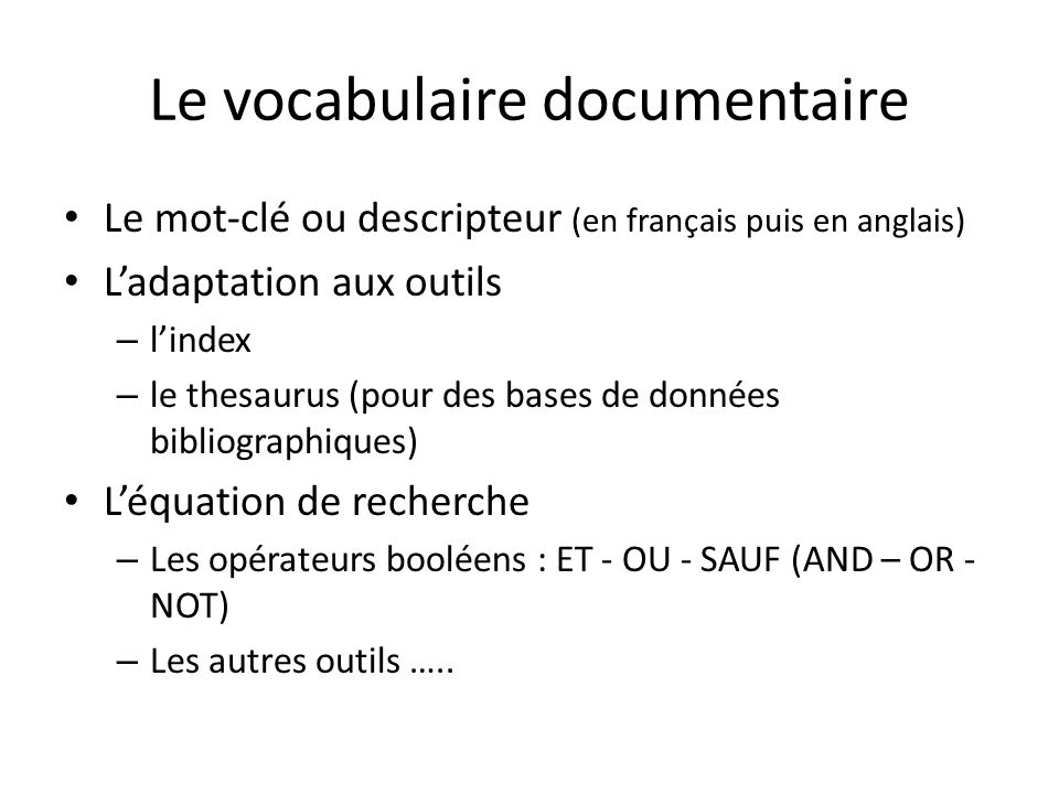 Le vocabulaire documentaire