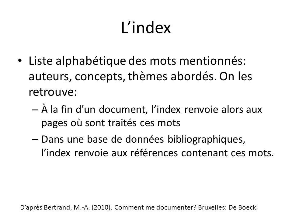 L'index Liste alphabétique des mots mentionnés: auteurs, concepts, thèmes abordés. On les retrouve: