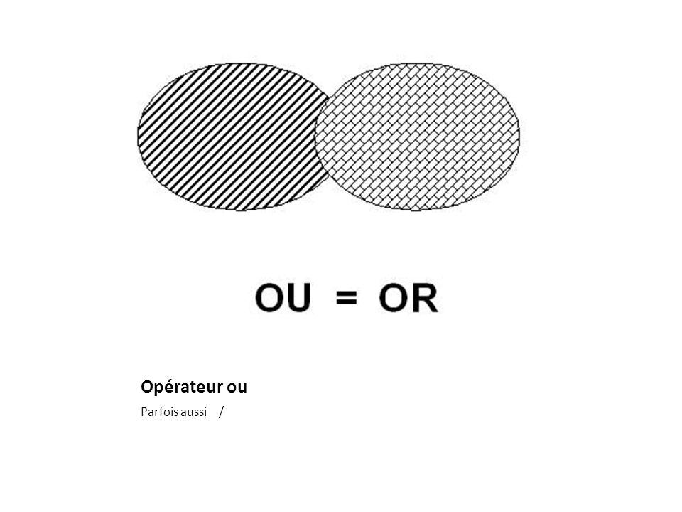 Opérateur ou Parfois aussi /