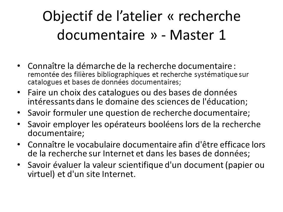 Objectif de l'atelier « recherche documentaire » - Master 1