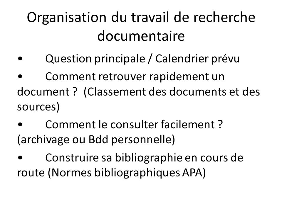 Organisation du travail de recherche documentaire