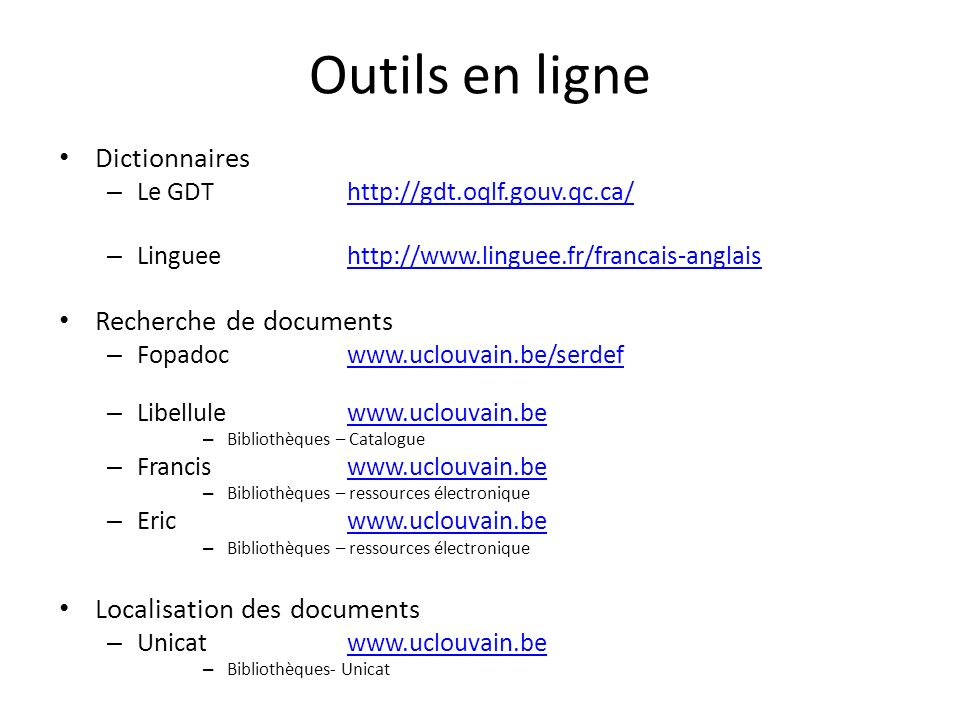Outils en ligne Dictionnaires Recherche de documents