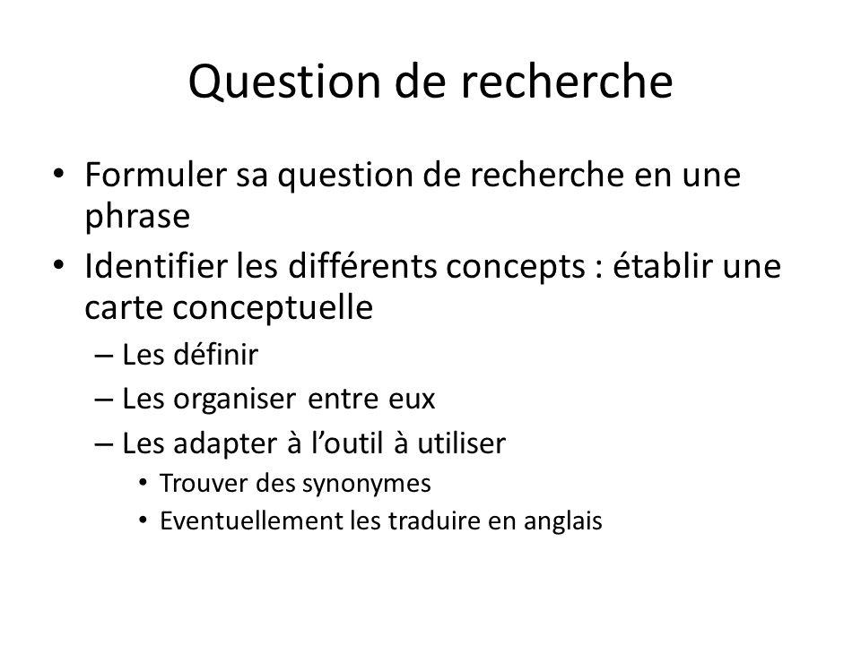 Question de recherche Formuler sa question de recherche en une phrase
