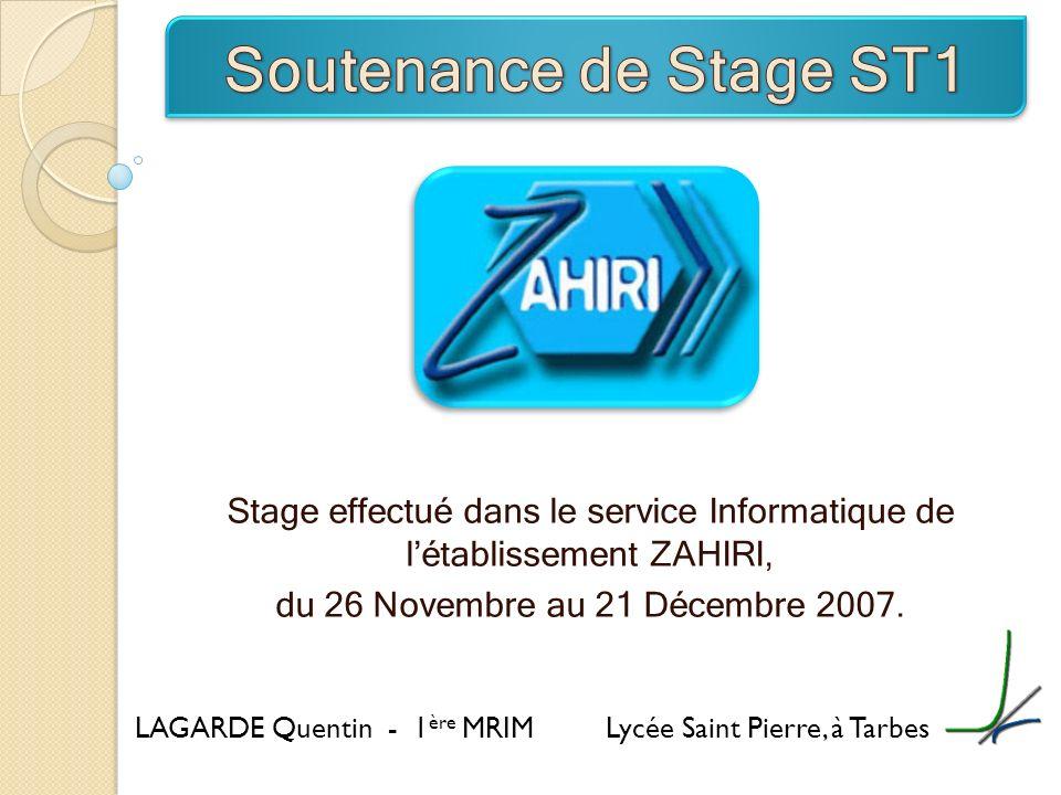 Soutenance de Stage ST1 Stage effectué dans le service Informatique de l'établissement ZAHIRI, du 26 Novembre au 21 Décembre 2007.