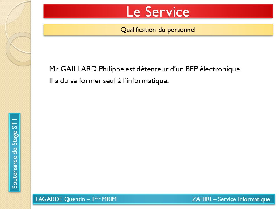 Qualification du personnel