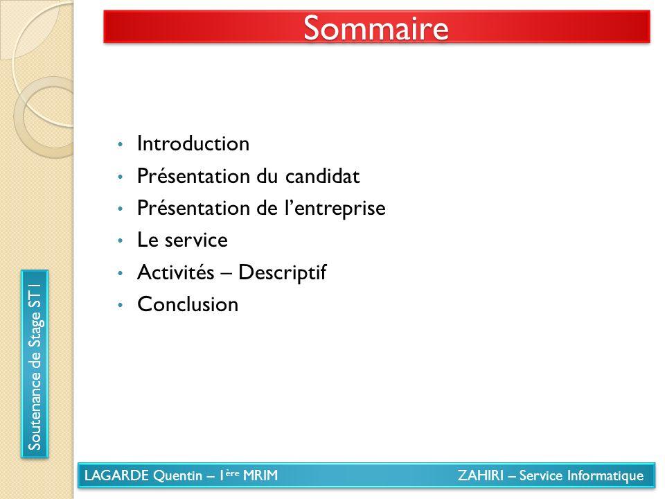 Sommaire Introduction Présentation du candidat