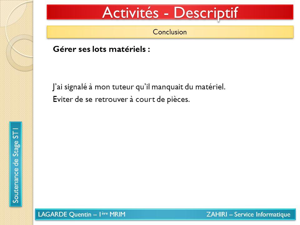 Activités - Descriptif
